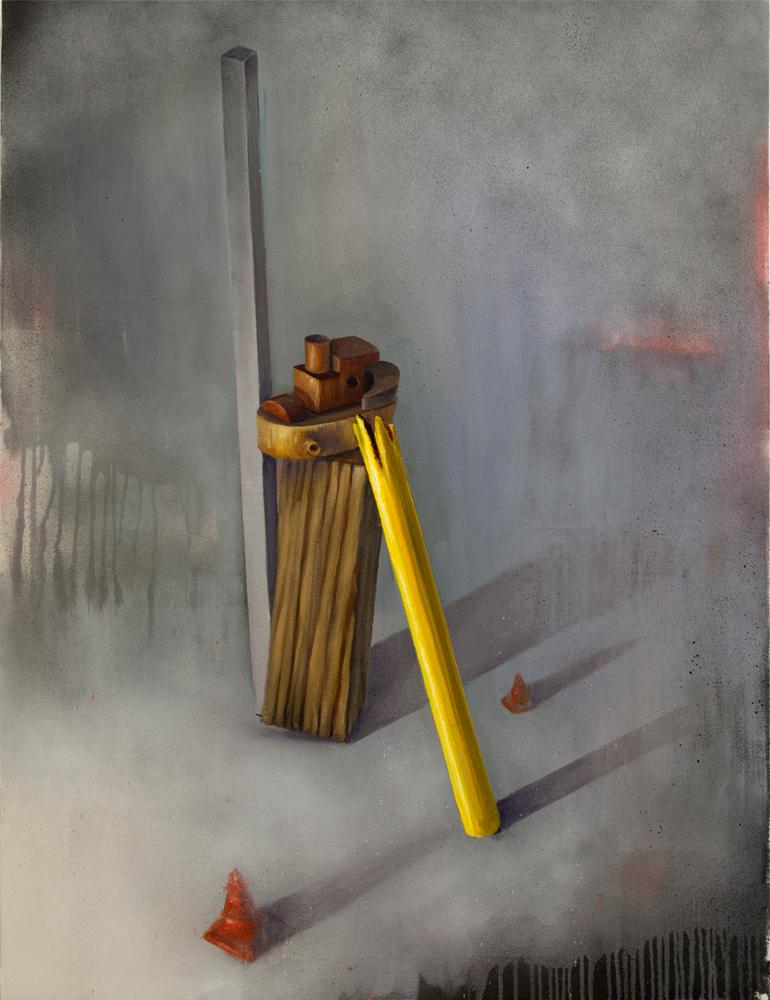 ALONE, 2017, óleo, esmalte y spray sobre lienzo, 118 x 89 cm.