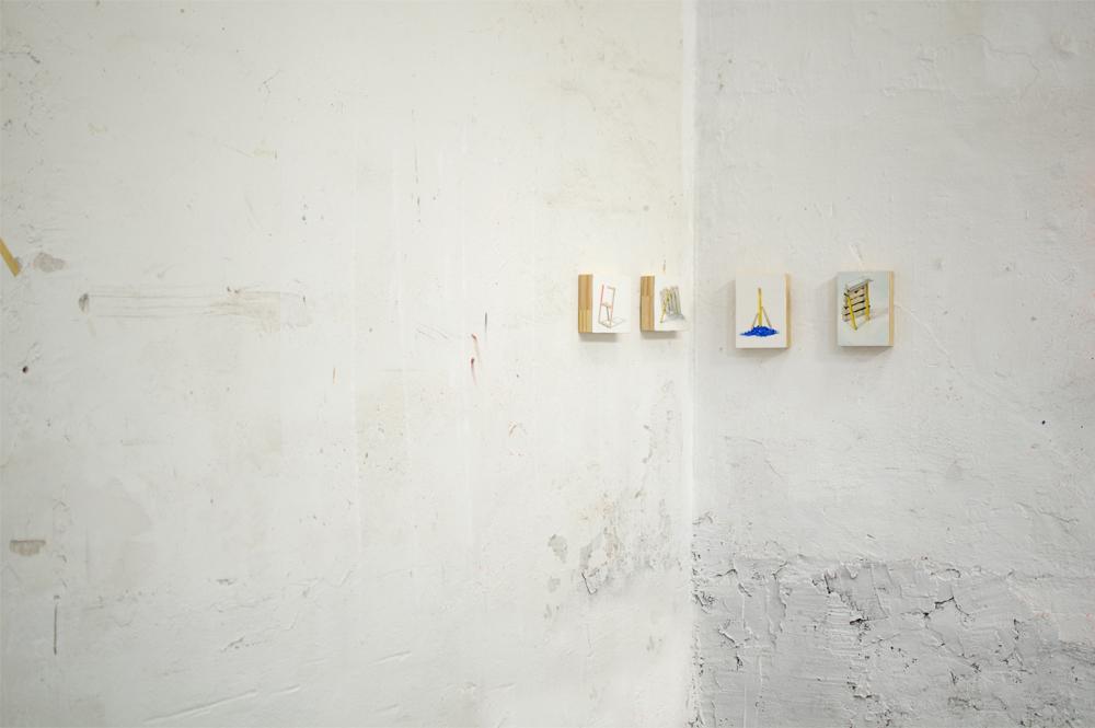 LOS ASPIRANTES, 2016, 4 óleos sobre madera, 13 x 18 cm.