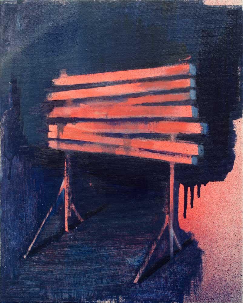 TERRITORIO EFÍMERO II, 2018, óleo y spray sobre lienzo, 41 x 33 cm