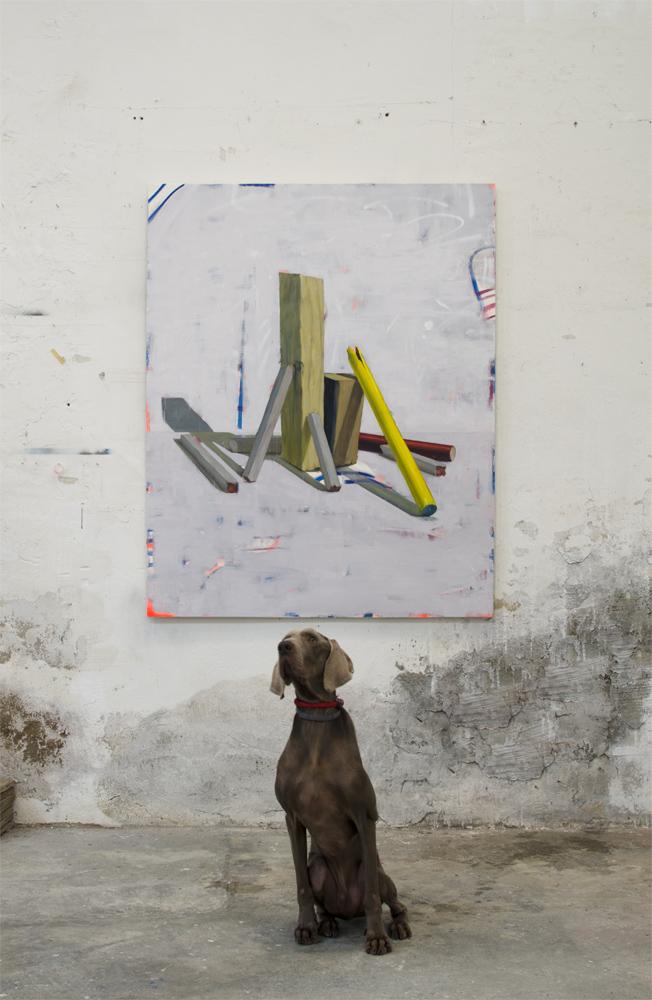 SIN TÍTULO (CATACROQUEN), 2016, óleo, esmalte y spray sobre lienzo, 150 x 120 cm.