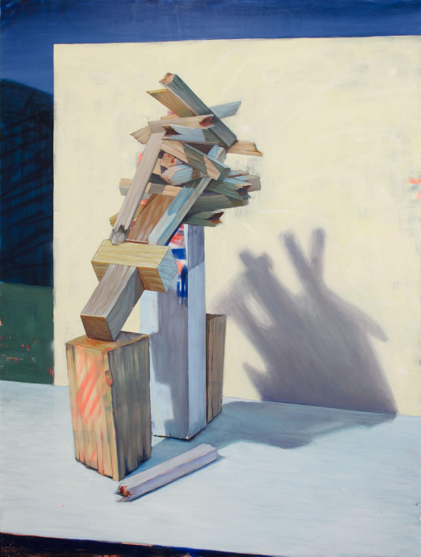 PELUSA GEOMÉTRICA, 2017, óleo, esmalte y spray sobre lienzo, 200 x 150 cm.