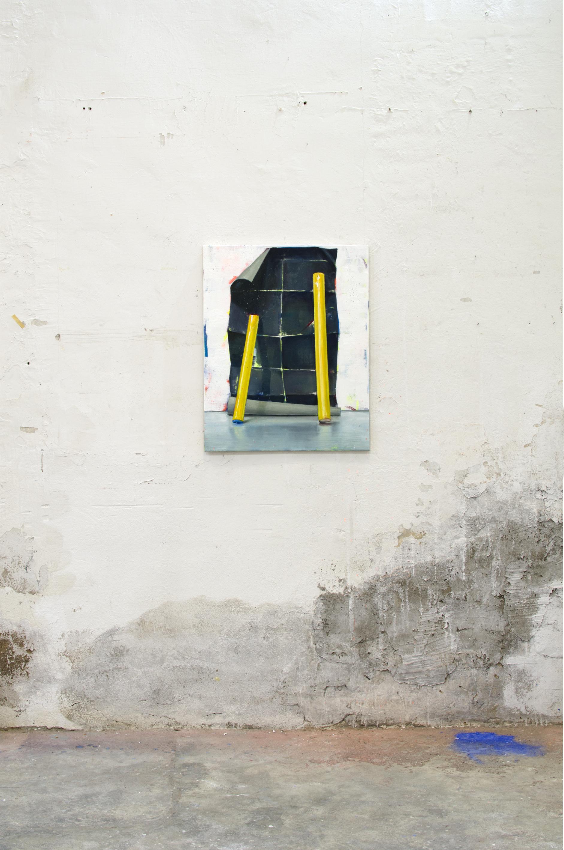 PROVISIONAL, 2016, óleo, esmalte y spray sobre lienzo, 81 x 65 cm.