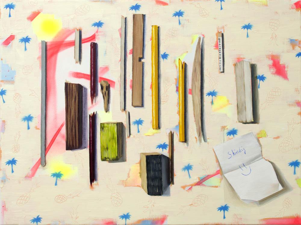 SHINDIG, 2018, óleo y spray sobre lienzo, 54 x 73 cm