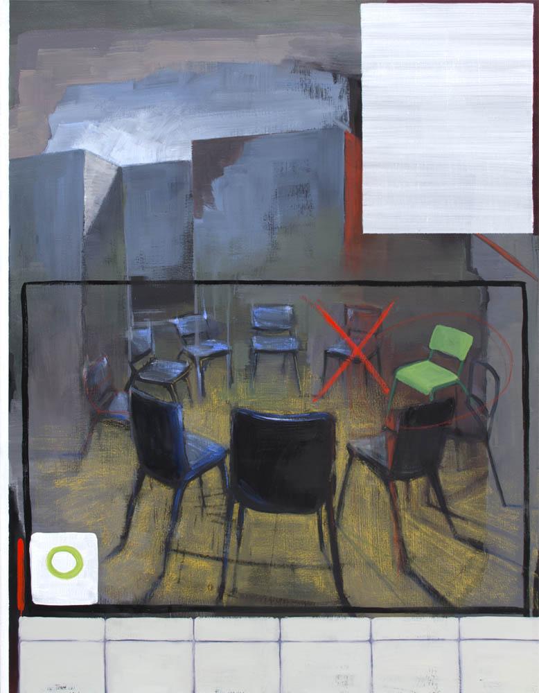 PENSAMIENTOS DIVERGENTES, 2016, óleo sobre lienzo, 116 x 89 cm.