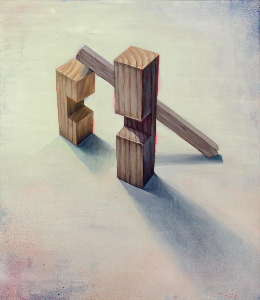 SONETO DE BALSA, 2018, óleo y spray sobre lienzo, 69.7 x 60 cm