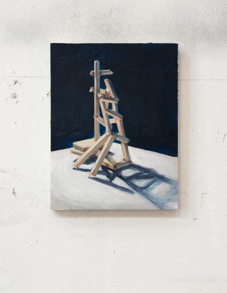 STAIRWAY TO, 2017, óleo sobre madera, 25 x 19 cm.